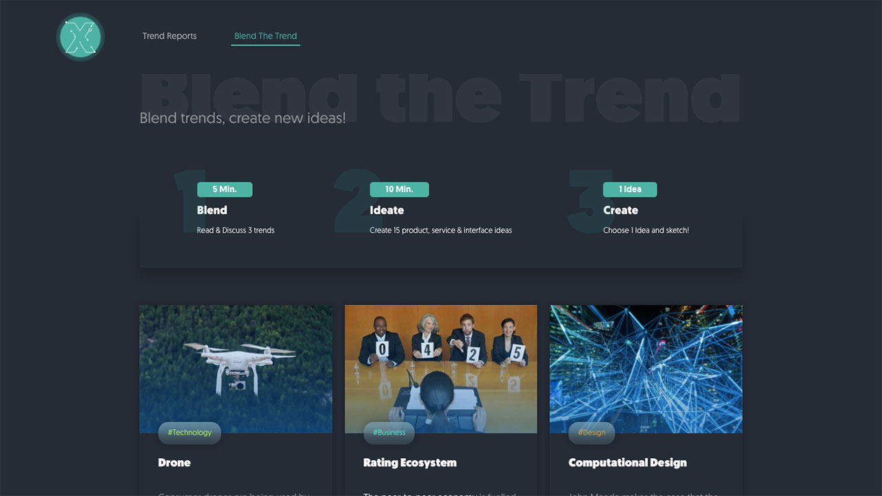 iox blend the trend page screen