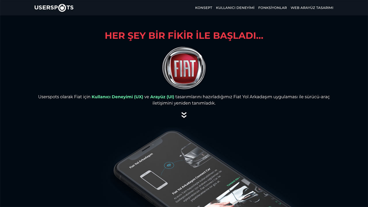 fiat case study homepage screen
